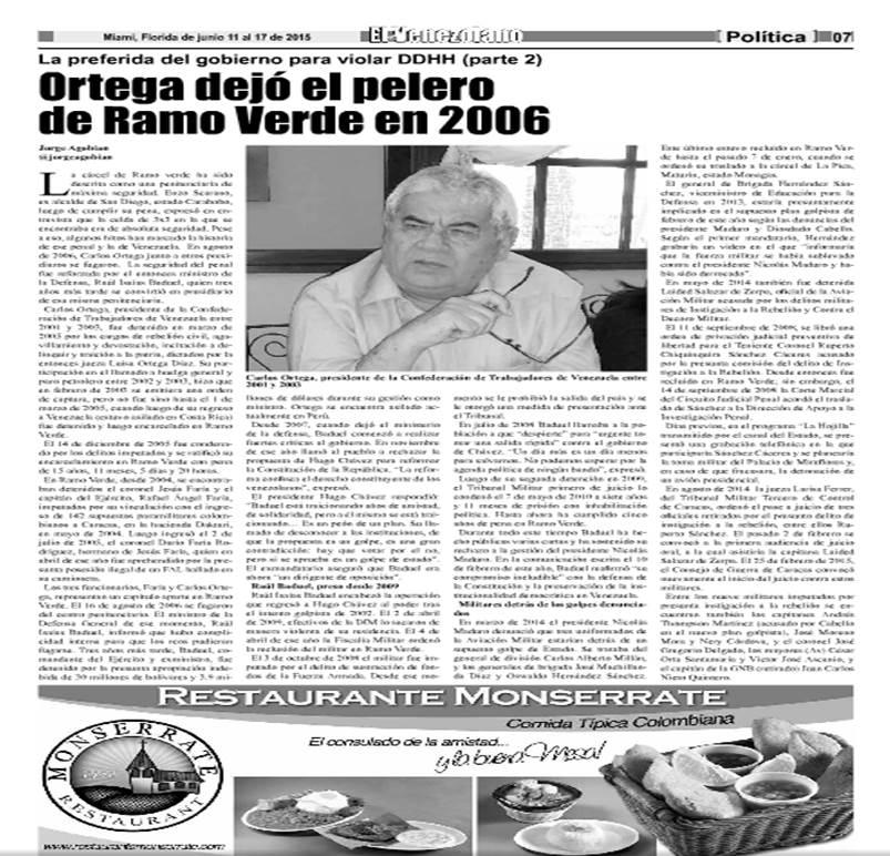 Especial Cárcel de Ramo Verde, Venezuela.  El Venezolano News de Miami-Dade (Junio 2015)