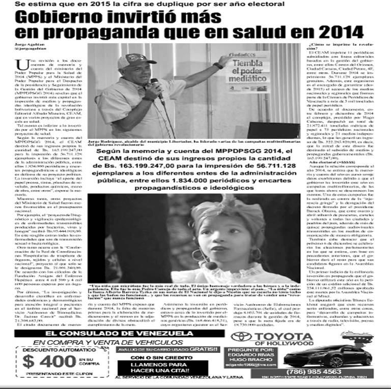 Gobierno invirtió más en propaganda que en salud en 2014. El Venezolano News de Miami-Dade (Julio 2 al 8 de 2015)