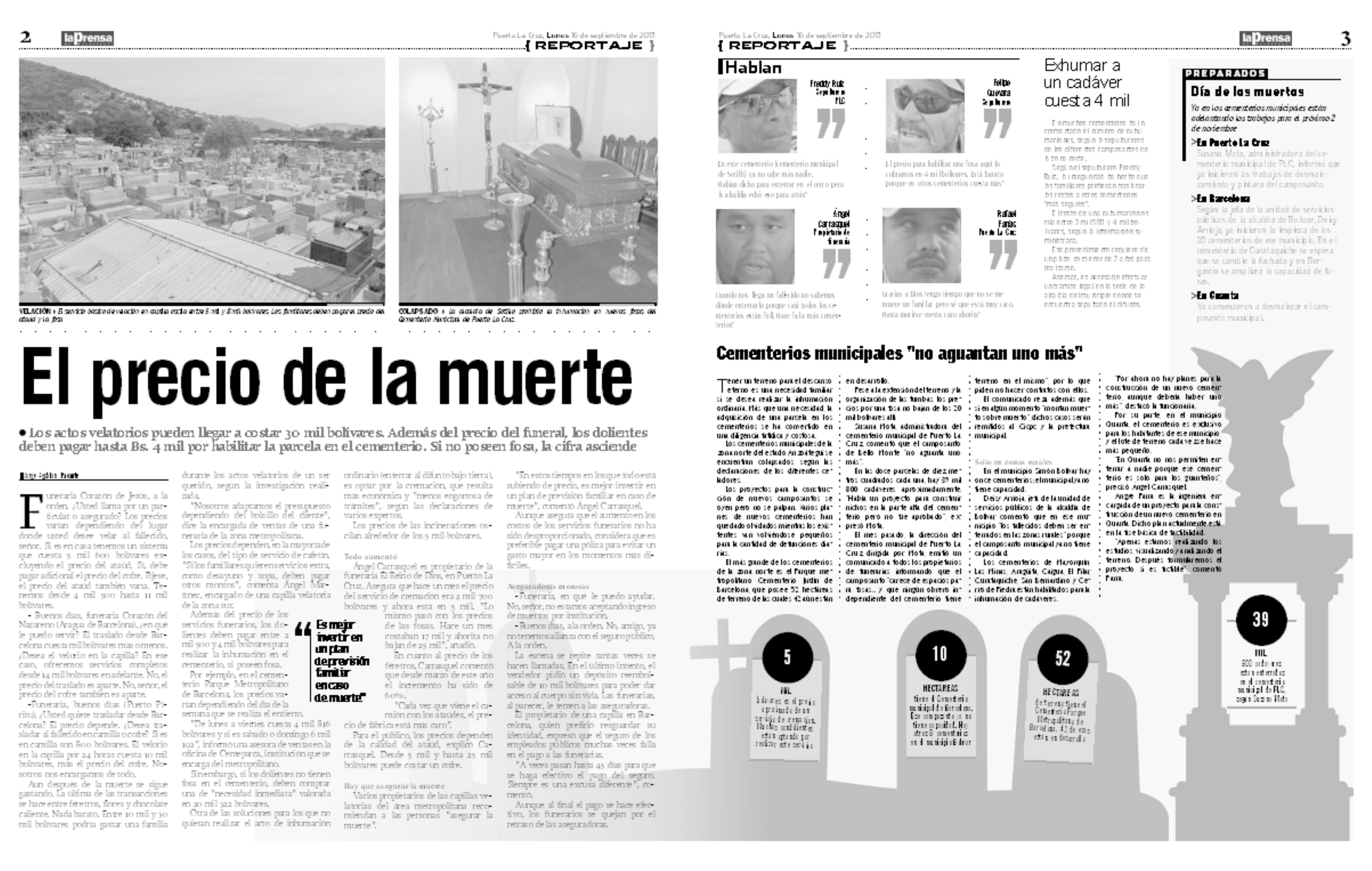 El Precio de la muerte (Reportaje La Prensa de Anzoátegui: 15-09-2013