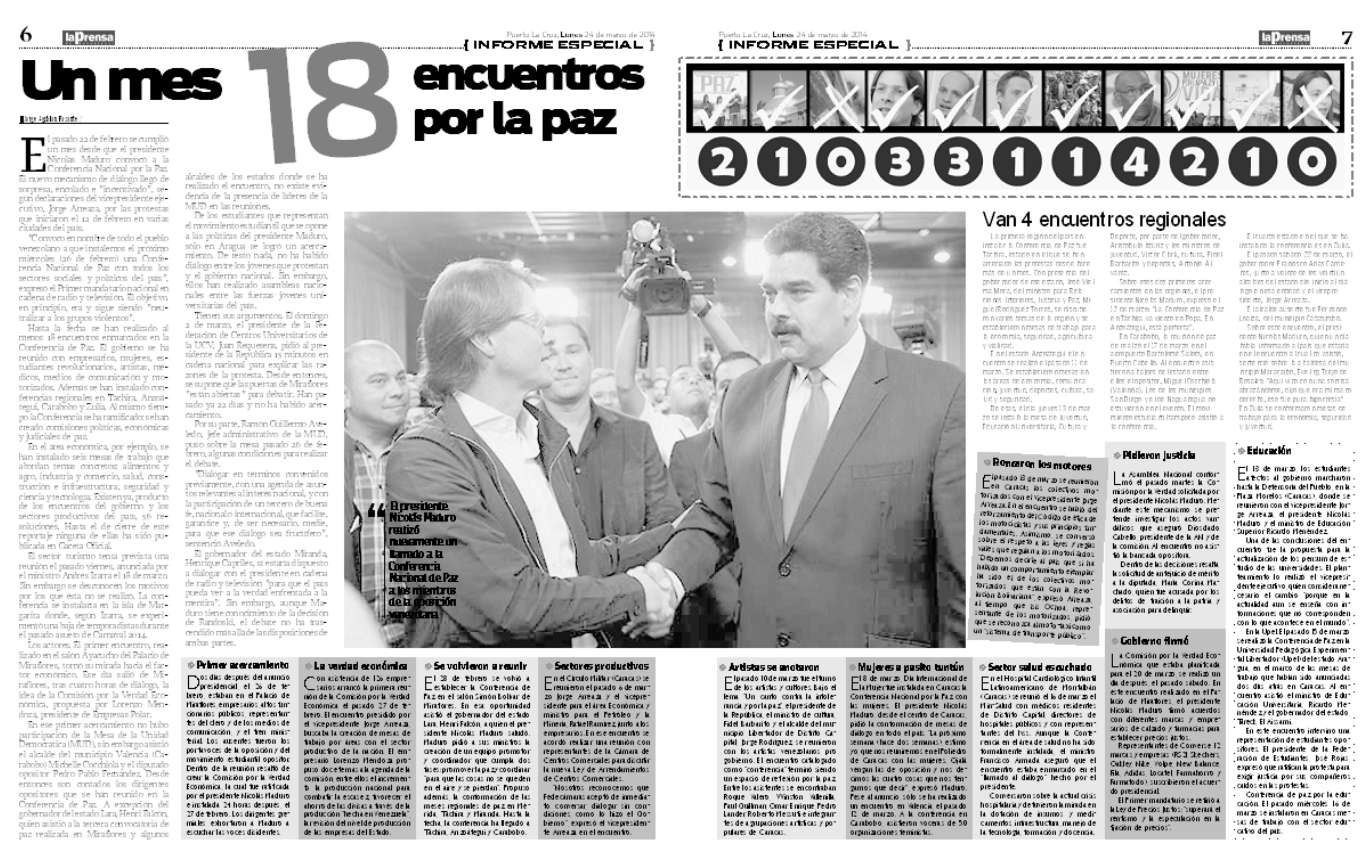 Los 18 encuentros de paz de Maduro y la oposición (Reportaje La Prensa de Anzoátegui: 24-03-2014