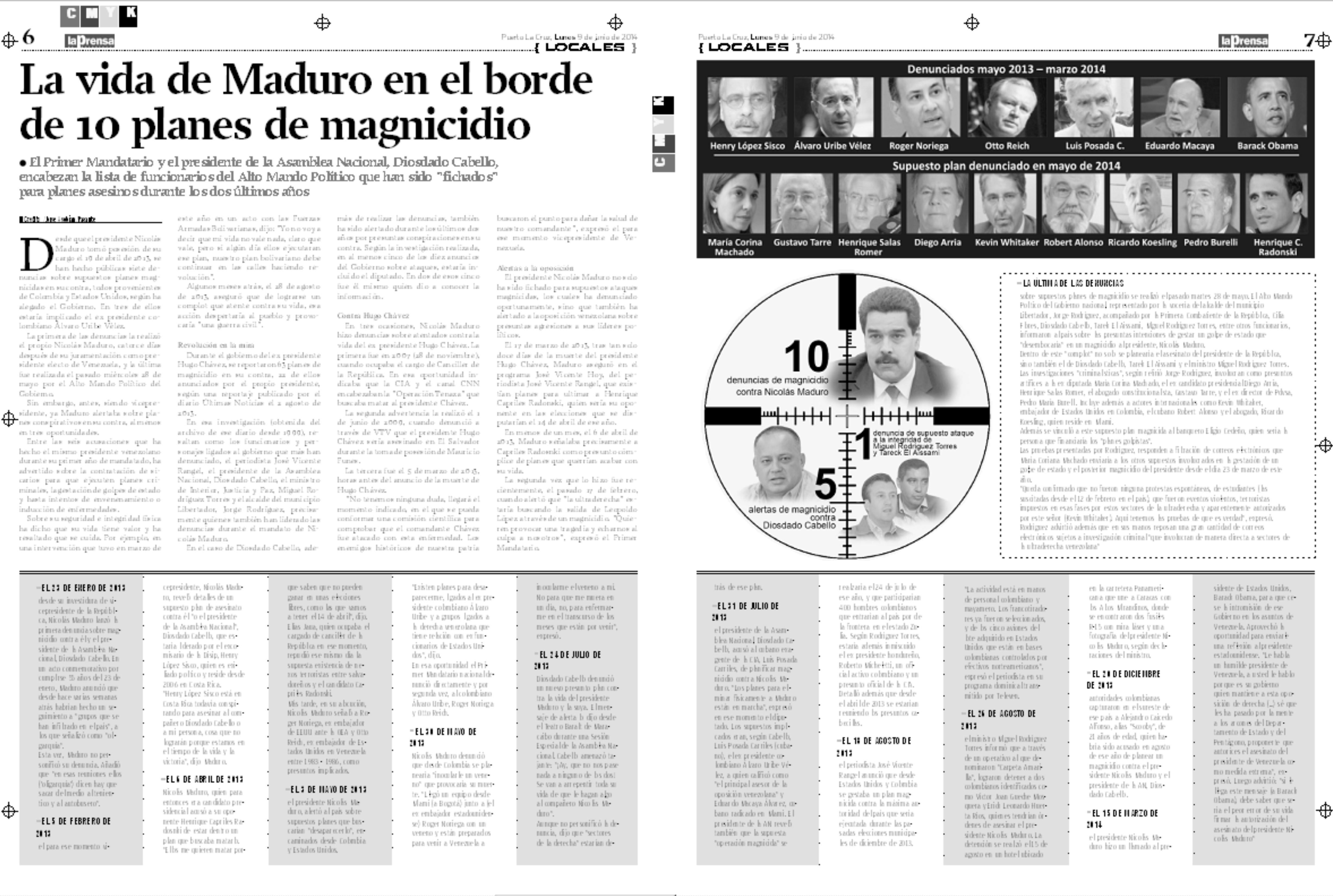 La vida de Maduro en el borde de 10 planes de magnicidio (Reportaje La Prensa de Anzoátegui: 09-06-2014