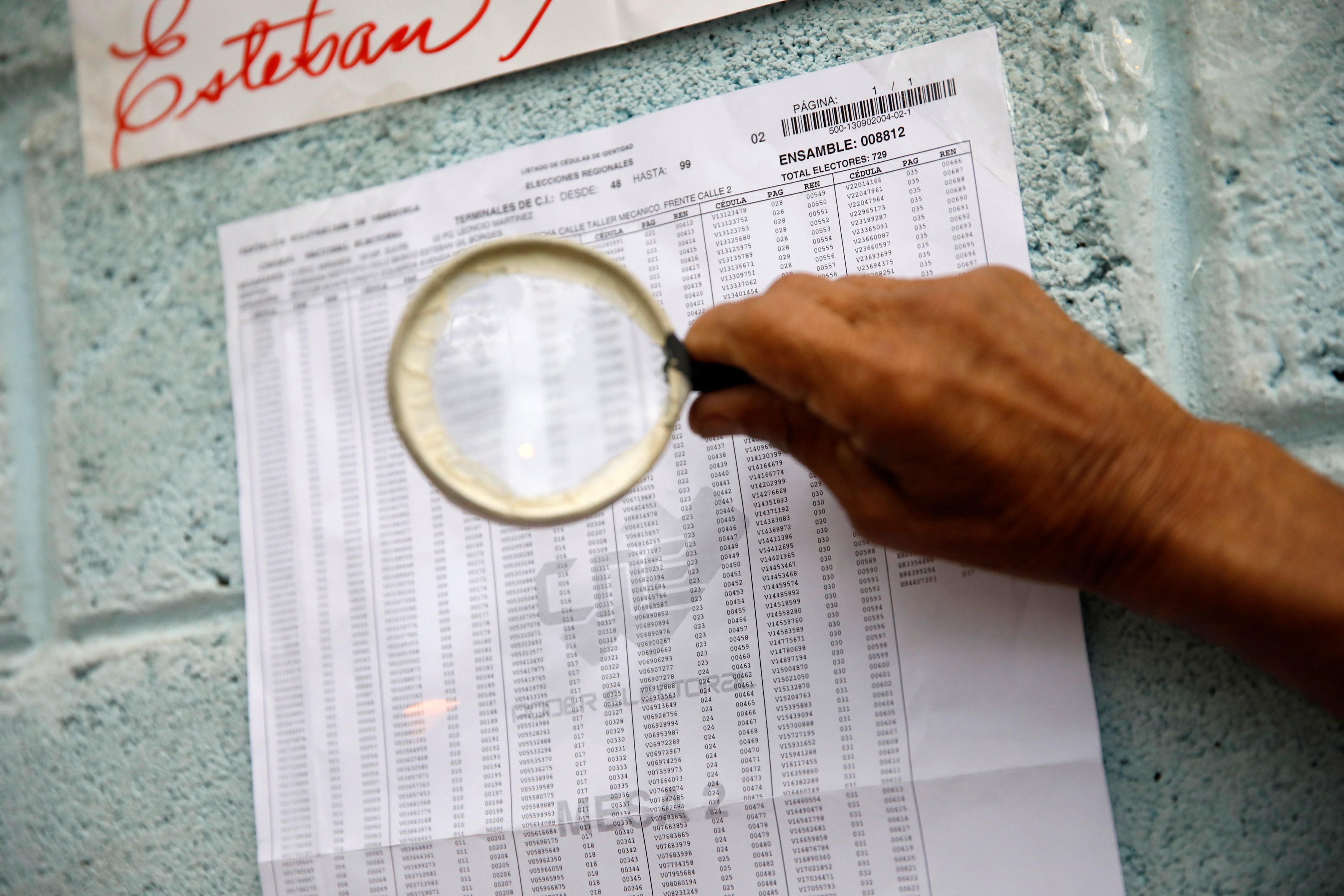 A Venezuelan citizen uses a magnifying glass to check a list in a polling station during a nationwide election for new governors in Caracas, Venezuela, October 15, 2017. REUTERS/Carlos Garcia Rawlins