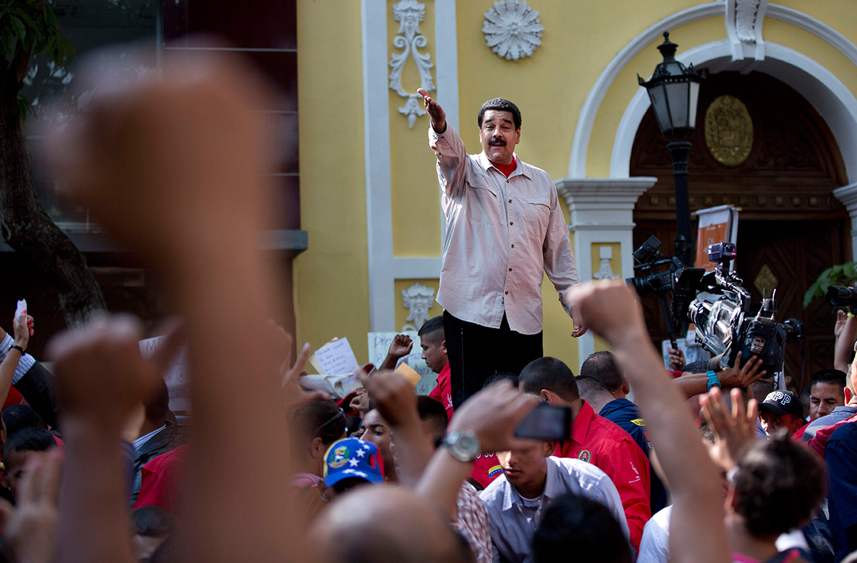 Nicolás Maduro durante un mitin en Caracas, Venezuela. Foto: AP / Ariana Cubillos